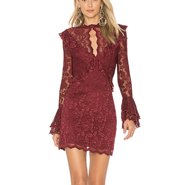 Saylor Wine Lace Devin Dress